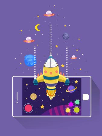 Illustration of a Space Battle Game Design with Planets and Spaceships on Mobile Phone 스톡 콘텐츠