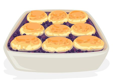 Illustration of a Bowl of Blueberry Cobbler, a Southern Classic Dessert Zdjęcie Seryjne
