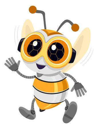 Illustration of a Bee Robot Mascot Waving 스톡 콘텐츠