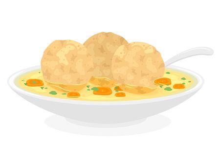 Illustration of Matzah Balls on Soup for Passover 스톡 콘텐츠