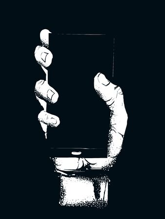 Illustration of a Hand Holding a Showing the Screen of a Mobile Phone