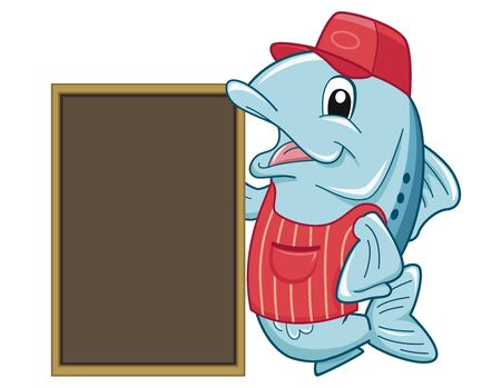 Illustration of a Fish Mascot Vendor Wearing Apron and Cap with Blank Chalk Board