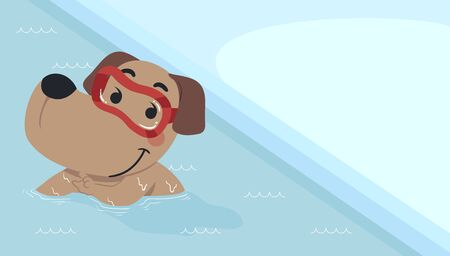 Illustration of a Dog Wearing Goggles in the Swimming Pool 스톡 콘텐츠