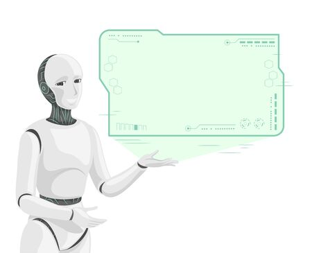 Illustration of a White Smiling Robot Projecting HUD Interface