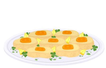 Illustration of Gefilte Fish Served on a Plate