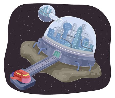Illustration of a Fantasy Futuristic City as a Mother Ship with a Space Ship Port
