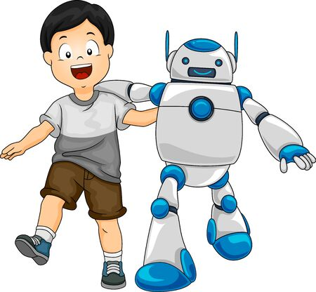 Illustration of a Kid Boy Walking with a Robot Friend 스톡 콘텐츠