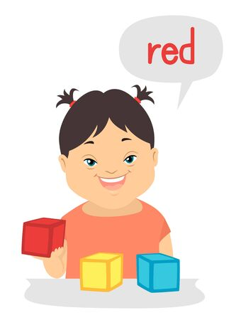 Illustration of a Kid Girl with Down Syndrome Describing the Colors of the Blocks