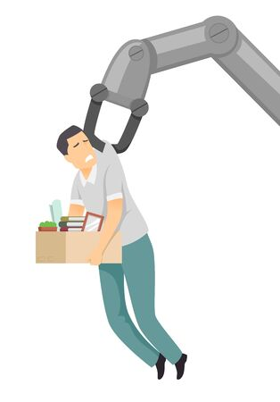 Illustration of a Robot Hand Carrying a Man Worker with Box of Office Supplies
