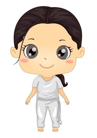 Illustration of a Kid Girl Wearing Capoiera Uniform Ready to Fight