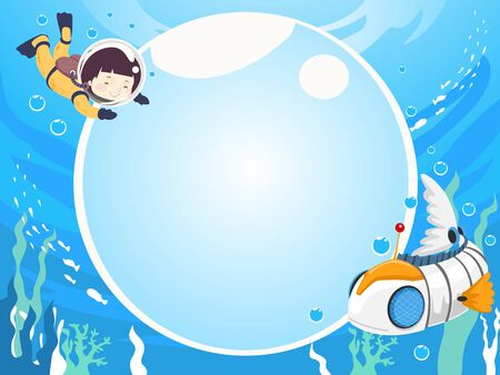 Background Illustration of a Kid Boy  Scuba Diving with a Robot Fish and Big Blank Water Bubble Board
