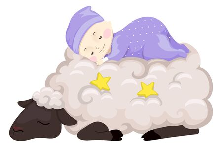 Illustration of a Baby in Onesies Sleeping on Top of a Sheep Wool with Stars Stock Illustration - 133154414