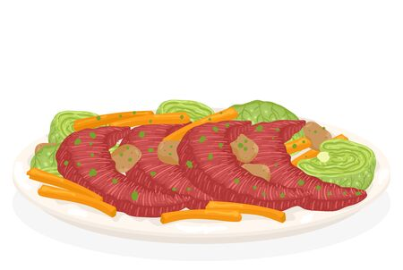 Illustration of Irish Corned Beef, Cabbage and Carrots Dish for St Patrick Day