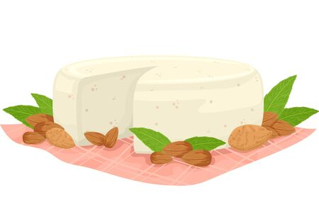 Illustration of a Vegan Almond Cheese with Almond Nuts