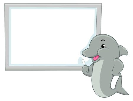 Illustration of a Dolphin with Blank Whiteboard and Teaching