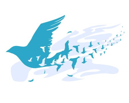 Illustration of Birds Silhouette Flying in the Air