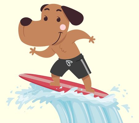 Illustration of a Dog Surfing the Waves