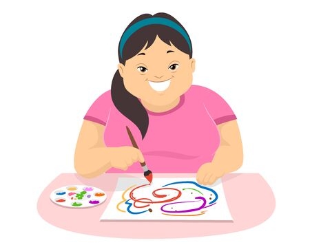 Illustration of a Teenage Girl with Down Syndrome Holding a Paintbrush and Learning to Paint