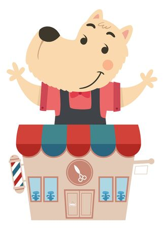 Illustration of a Dog Barber Standing from His Barber Shop