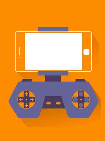 Illustration of a Mobile Phone with Arcade Game Emulator 스톡 콘텐츠
