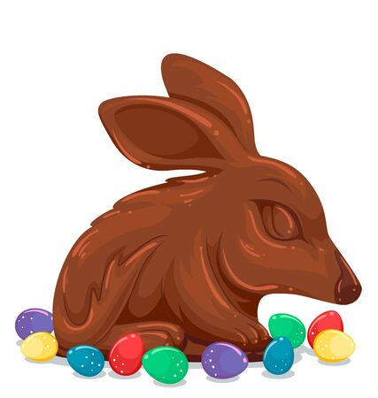Illustration of a Chocolate Easter Bunny with Colorful Easter Eggs