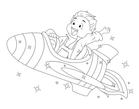 Coloring Page Illustration of a Kid Boy Waving His Hand and Riding a Spaceship