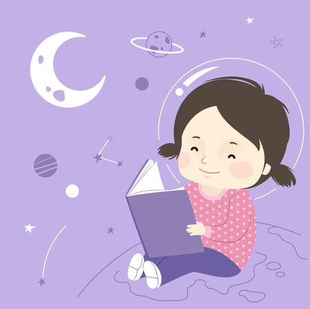 Illustration of a Kid Girl Sitting and Reading a Book with Astronomy Doodles