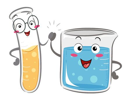 Illustration of a Test Tube Mascot Giving a High Five to a Beaker Mascot