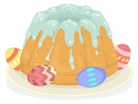 Illustration of a Polish Babka Cake with Easter Eggs on Plate