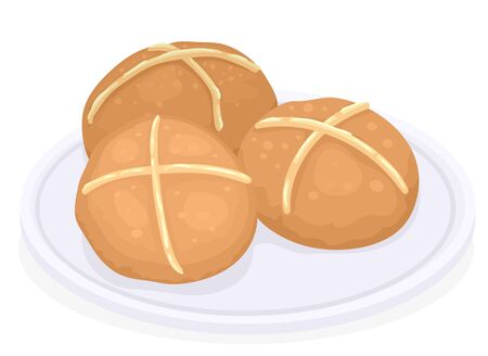 Illustration of Hot Cross Buns on a Plate Served and Eaten Traditionally on Good Friday