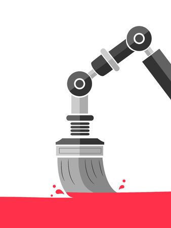 Illustration of a Robotic Paint Brush Painting for Home Improvement