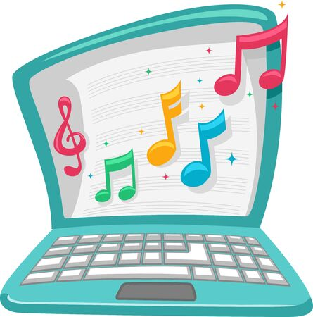 Illustration of a Laptop Showing Musical Notes and Music Sheets as Online Music Class