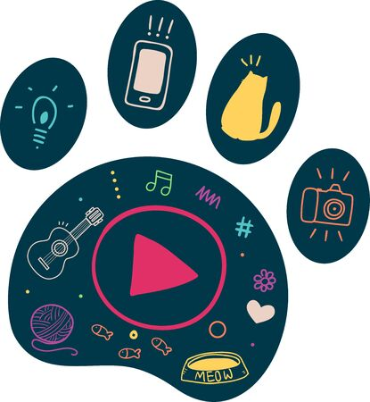 Illustration of a Cat Paw with Vlogging Elements from Play Button to Mobile and Camera