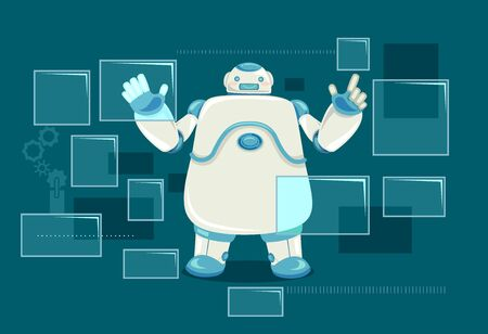 Illustration of a Robot Clicking on Buttons in a Virtual Screen