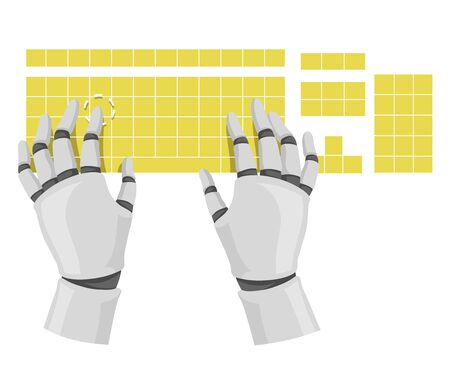 Illustration of Robot Hands Typing and Using a Keyboard as Chatbot for Customer Service