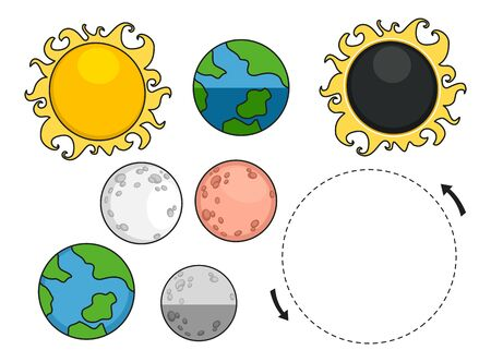Illustration of a Lunar Eclipse Elements from Sun, Earth and Moon