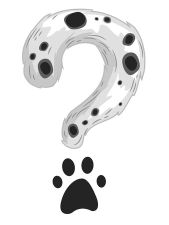 Illustration of a Dalmatian Pattern as Question Mark with Paw Print 스톡 콘텐츠