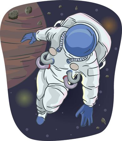 Illustration of an Astronaut Wearing Space Suit Floating in the Outer Space