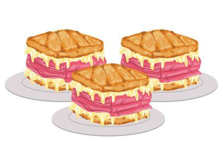 Illustration of Three Reuben Sandwiches on Small Plates