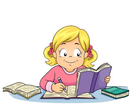 Illustration of a Kid Girl Writing, Studying and Reading a Book 스톡 콘텐츠