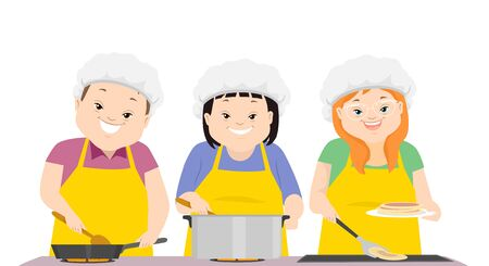 Illustration of Teenage Girl and Guy with Down Syndrome Wearing Hair Cap and Cooking