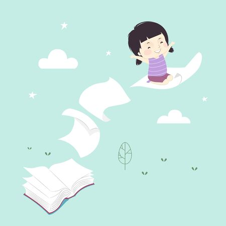 Illustration of an Open Book with Pages Flying and Carrying a Little Girl