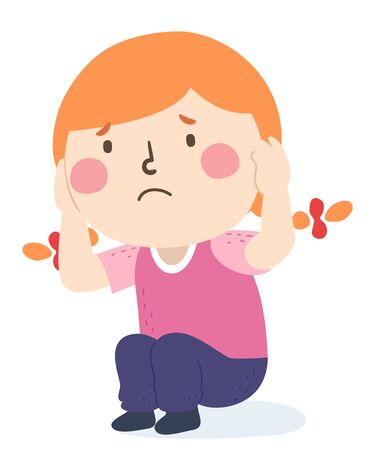 Illustration of a Kid Girl Sitting Down and Covering Her Ears Afraid of Something