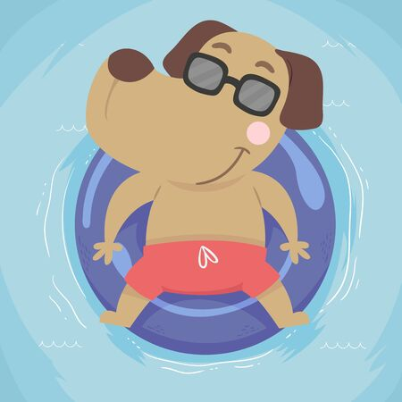 Illustration of a Dog Wearing Sunglasses and Floating on Water 스톡 콘텐츠