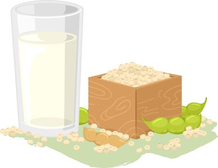 Illustration of a Glass of Vegan Soya Milk with Soybeans and Soya Beans