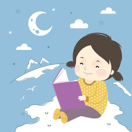 Illustration of a Kid Girl Reading a Book and Sitting on an Island with other Geography Doodles 스톡 콘텐츠