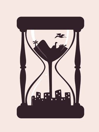 Illustration of a Conceptual Hour Glass from Past to Future with Dinosaurs on Top to City Below