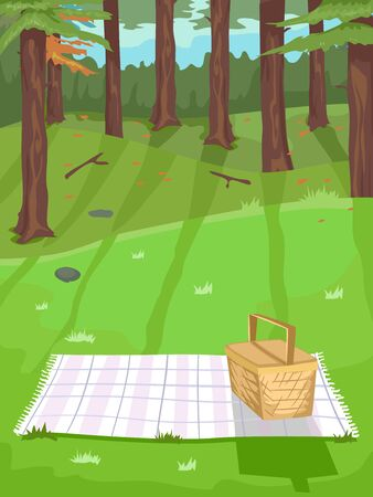 Illustration of a Picnic Blanket and Basket by the Forest 스톡 콘텐츠