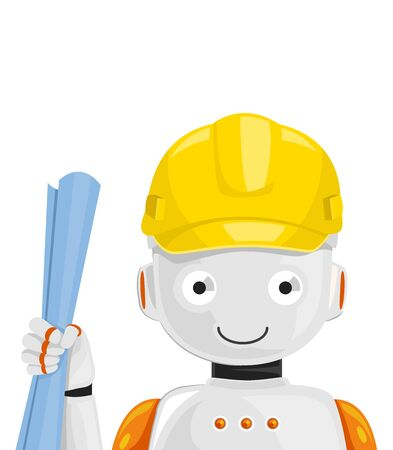 Illustration of a Robot Wearing Yellow Hard Hat and Holding a Blue Print