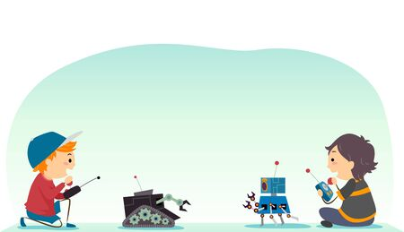 Illustration of Stickman Kids Playing with Their Robots as a Game Challenge